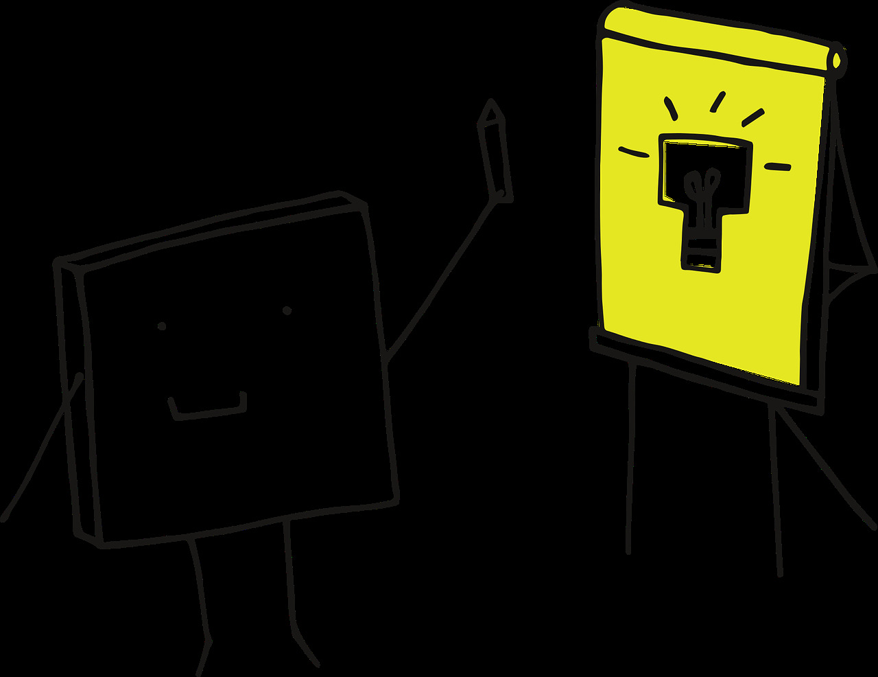 Cartoon block figure next to presentation board with a light bulb drawing